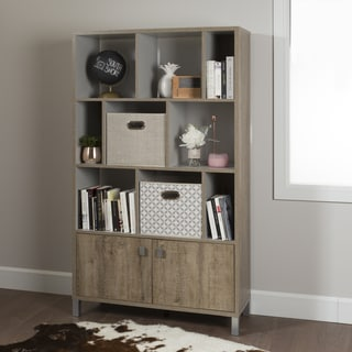 South Shore Furniture Expoz Grey/White/Weathered Laminate 9-cube Shelving Unit with Doors