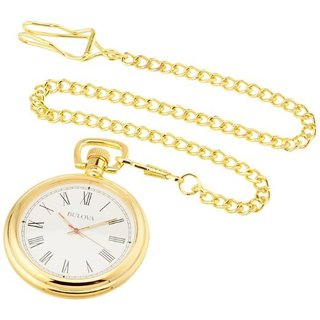 Bulova Ashton B2662 Polished Brass Pocket Watch With Hardwood Box