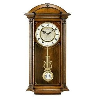 Bulova C4331 Hartwick Solid Walnut Pendulum Harmonic Chime Analog Wall Clock