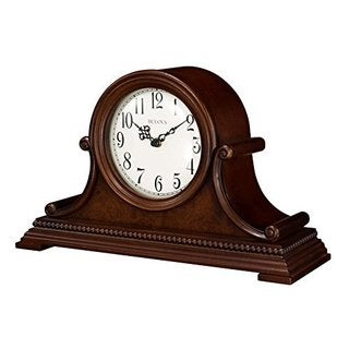 Bulova B1514 Asheville Tambour Quartz Harmonic Solid Wood Mantel Clock