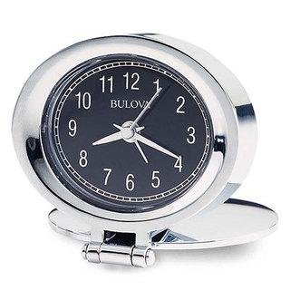 Bulova B6842 Quartz Chrome Finish Tabletop Ascending Beep Analog Alarm Clock