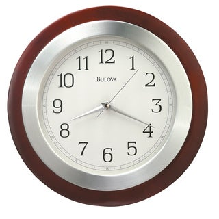 BulovaC4228 Reedham 14-inch Quartz Solid Wood and Aluminum Analog Wall Clock