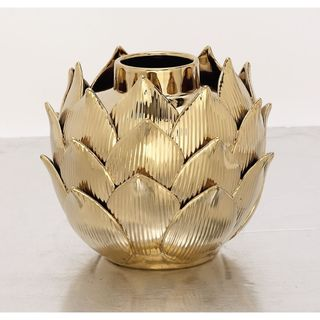 Metallic Gold Porcelain Lotus Bud Table Vase