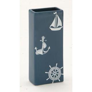 Blue Ceramic Nautical-Themed Rectangular Vase