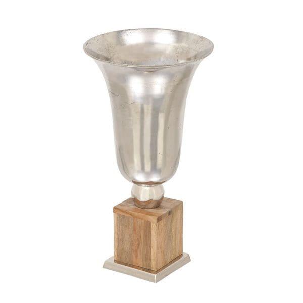 Multicolored Wood and Aluminum Decorative Vase