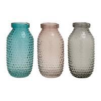 Assorted Black/Grey/Pink Decorative Glass Vases (Set of 3)