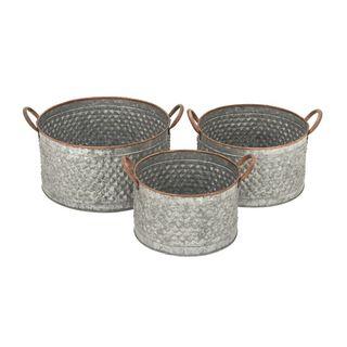 Galvanized Metal Set of 3 Planters