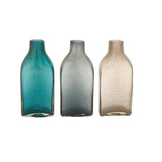 Blue, Grey, and Brown Glass 3 Assorted Bottle Vases