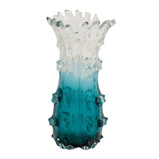 Clear Blue Glass Vase