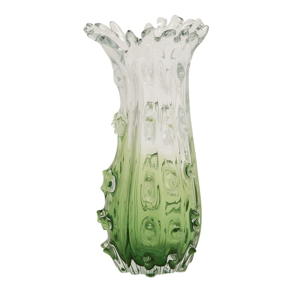 Abstract Clear / Green Glass Vase