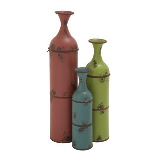 Red, Green, and Blue Bottle Vases (Set of 3)