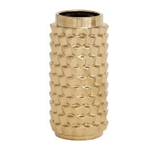 Patterned Gold Ceramic Vase