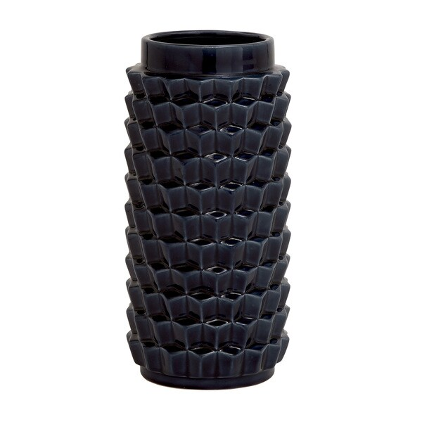 Black Ceramic Textured Table Vase
