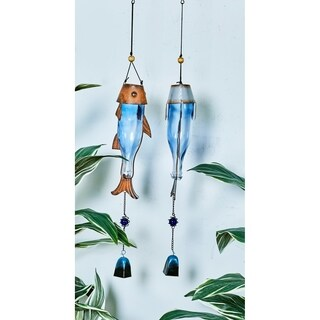 2 Assorted Silver Metal and Glass Fish Windchimes
