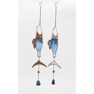 Nautical Metal Glass Silver Wind Chime 2 Assorted