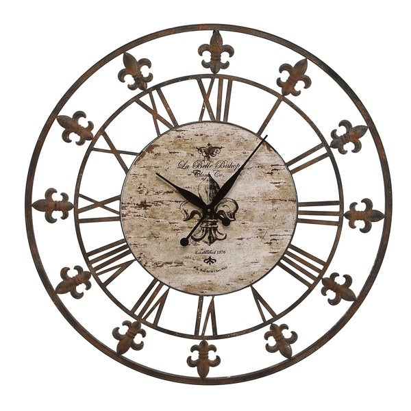 Metal 36-inch Fleur-de-lis Decorative Clock
