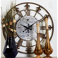 Metal 36-inch Fleur-de-lis Decorative Clock