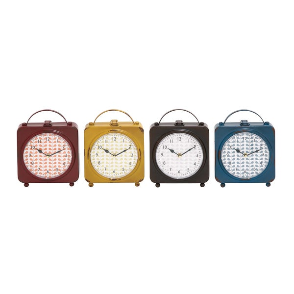 Set of 4 Assorted Metal Desk Clocks
