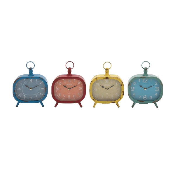 The Rectangular Metal Desk Clock 4 Assorted
