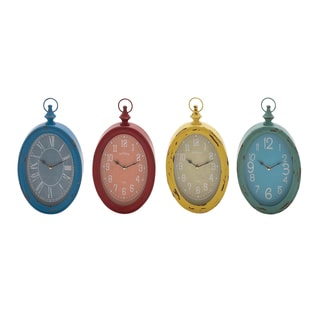 Blue, Red, Yellow and Green Metal Vintage-style Wall Clocks (Set of 4)