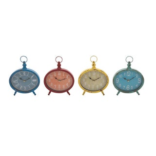 4-Piece Rustic-style Metal Desk Clock Set