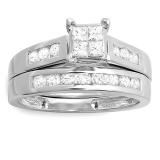 14k White Gold Princess and Round Diamond Accent Bridal Engagement Ring