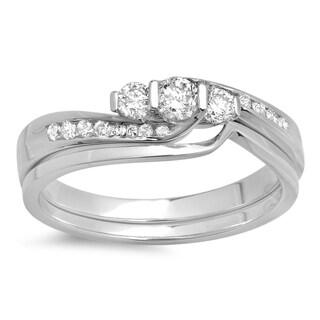 14k Gold 1/2ct TDW Round Diamond Swirl Bridal 3-stone Engagement Ring Set (H-I, I1-I2)