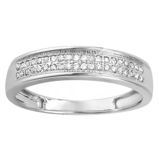 Elora 10k White Gold 1/6ct TDW Round Diamond Anniversary Wedding Band Ring (I-J, I2-I3)