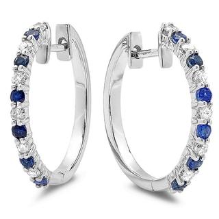 14k White Gold 5/8ct TGW Round Blue Sapphire and White Diamond Hoop Earrings (H-I, I1-I2)