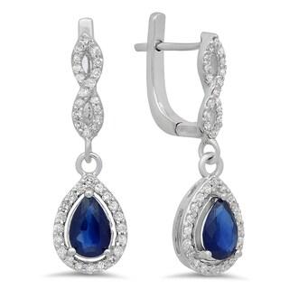 14k Gold 1 1/3ct TDW Blue Sapphire and White Diamond Halo Drop Earrings (I-J, I1-I2)