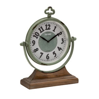 Green Metal and Wood Table Clock