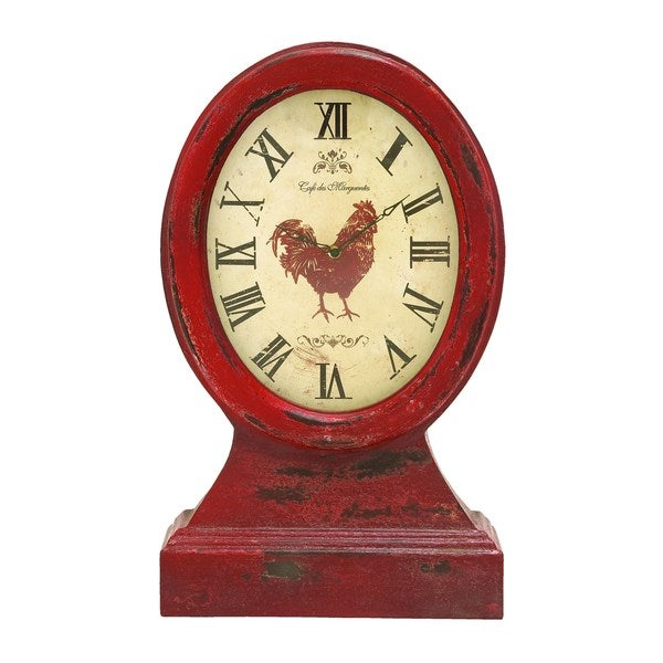 Red Wood Vintage Farm-themed Table Top Clock