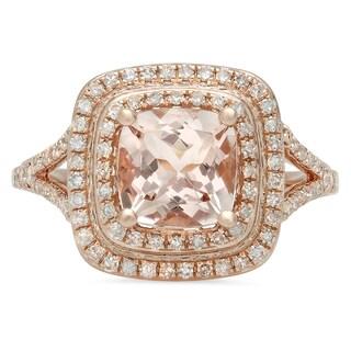Elora 14k Rose Gold 2 1/5ct TGW Morganite and Diamond Split Shank Halo Bridal Ring (I-J, I1-I2)