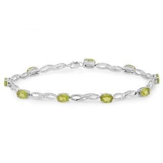 Elora Sterling Silver 4 1/4ct TGW Oval-cut Genuine Peridot and Diamond Link Bracelet (I-J, I1-I2)