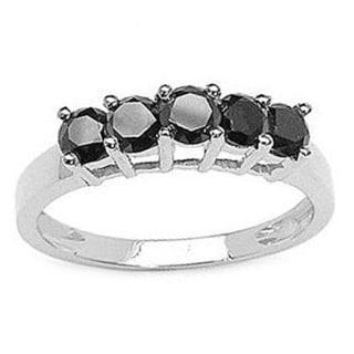 14k White Gold 3/4ct TDW Round Black Diamond 5-stone Anniversary Wedding Band Ring