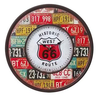 Entrada Multicolor Wood and Metal Route 66 Wall Clock