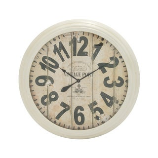 Antique-styled Natural Finish Metal Wall Clock