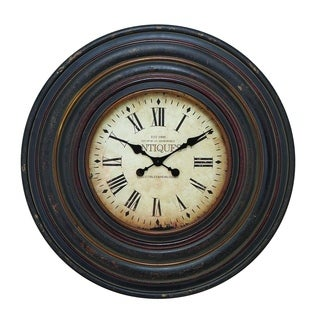 Vintage-inspired Wall Clock With Dark Brown Finish