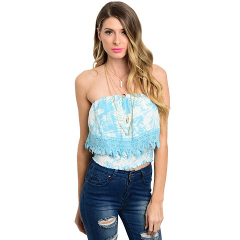 Shop the Trends Women's Multi-colored Rayon Strapless Crop Top