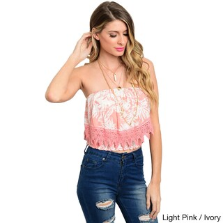 Shop the Trends Women's Multi-colored Rayon Strapless Crop Top (More options available)