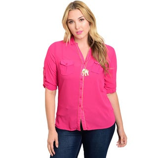 Shop the Trends Women's Plus-size Polyester Button-down Shirt