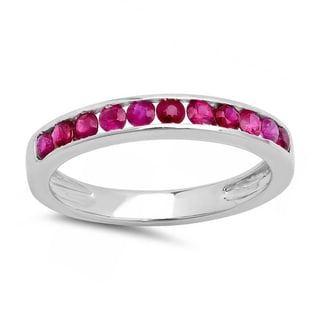 10k White Gold 1/2ct TDW Round Ruby Anniversary Wedding Stackable Ring Band (I1-I2)