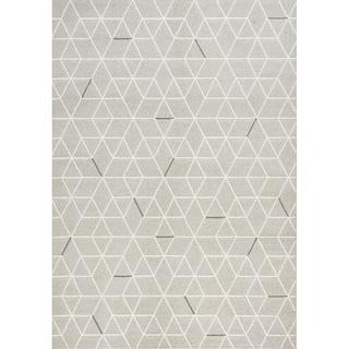 Iris White/ Brown Geometric Rug (5'3 x 7'7)