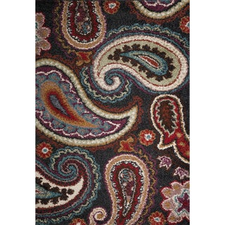 Christopher Knight Home Rose Kara Paisley Black Frieze Rug (8' x 10')