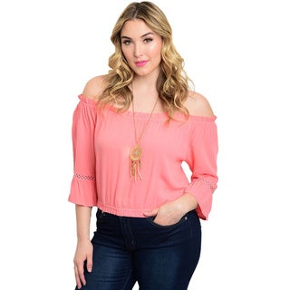 Shop the Trends Women's Solid-colored Rayon Off-the-shoulder Plus Size Top