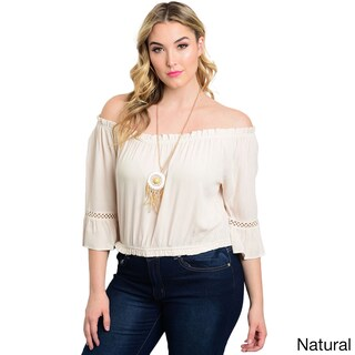 Shop the Trends Women's Solid-colored Rayon Off-the-shoulder Plus Size Top (Option: Beige - 1X)