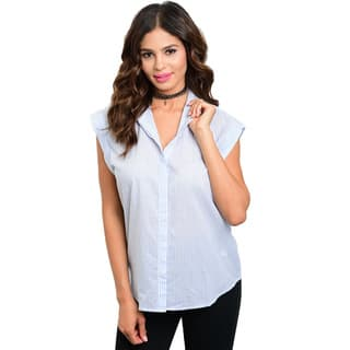 Shop the Trends Women's Sleeveless Button Down Blouse|https://ak1.ostkcdn.com/images/products/11842992/P18745883.jpg?impolicy=medium