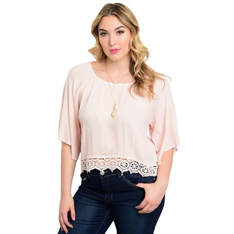 Shop the Trends Women's Woven Rayon Plus-size 3/4 Flutter-sleeve Top