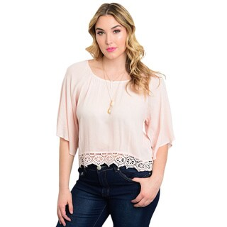 Shop the Trends Women's Woven Rayon Plus-size 3/4 Flutter-sleeve Top (5 options available)