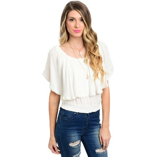 Shop the Trends Women's Short Sleeve Woven Top With Flounce Layer